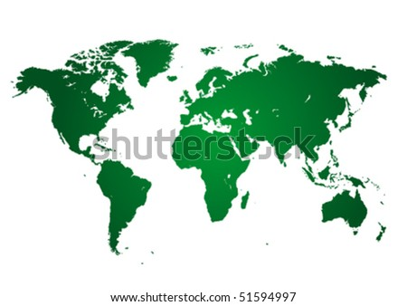 Green continents on white - stock vector