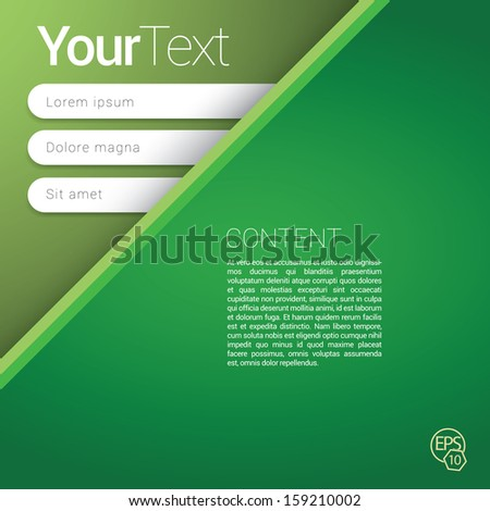 Green corner edition of a scalable futuristic minimal  vector software 3d layout design with navigation menu for printing, for web, or for mobile application for universal use - stock vector