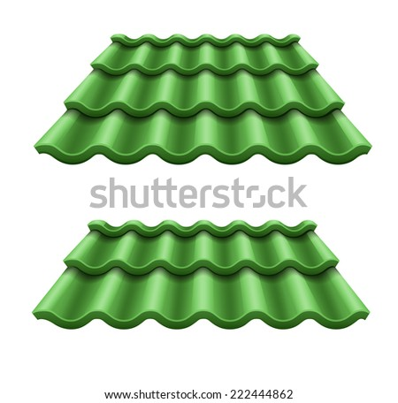 Green corrugated tile element of roof. Eps10 vector illustration. Isolated on white background - stock vector