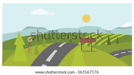 Green country road - stock vector