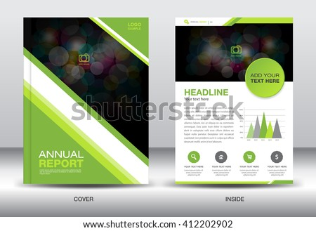 Green cover design, Annual report template, business brochure flyer, infographics elements, poster, leaflet, newsletter, booklet, magazine ads, vector, presentation, polygon background