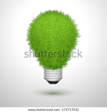 Green creative lightbulb innovation or ecology concept isolated vector illustration - stock vector