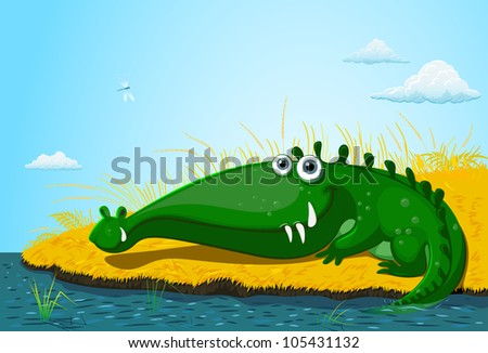 green crocodile - stock vector