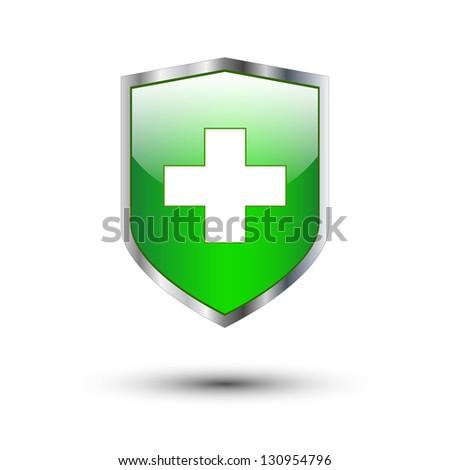 Green cross on protective shield - stock vector