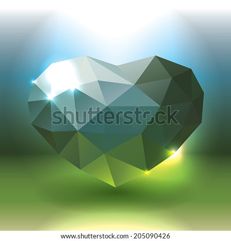 Green crystal heart - stock vector