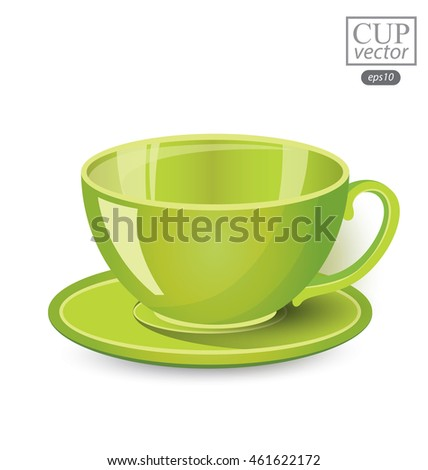 Green cup isolated on white background. Vector illustration.