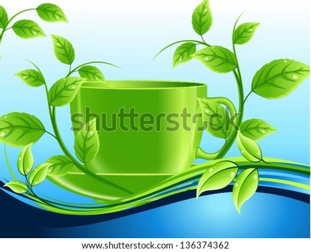 Green cup of waves