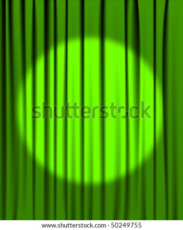 Green curtain from the theater with a spotlight - stock vector