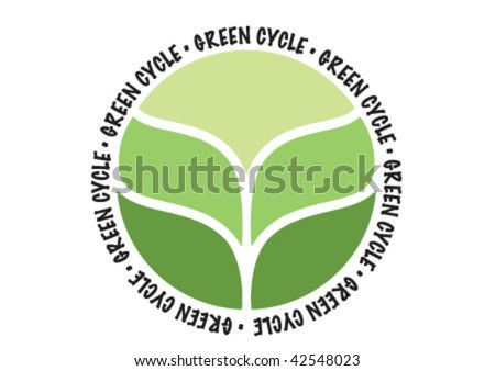 Green cycle biological sign symbol - stock vector
