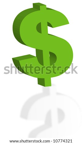 green 3d dollar sign with reflection - vector - stock vector