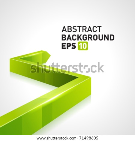 Green 3d graph arrow move up vector background - stock vector