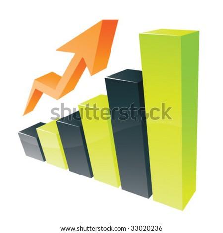 Green 3D statistic chart graph - stock vector