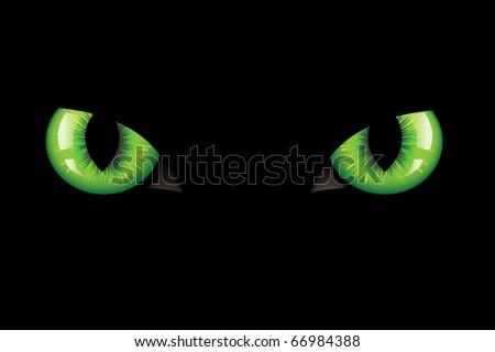Green Dangerous Wild Cat Eyes, On Black Background, Vector Illustration - stock vector