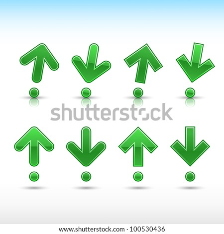 Green dark arrow sign in form of exclamation mark. Glossy and satined shapes with reflection on white background. Vector illustration saved in 10 eps. - stock vector