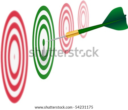 Green dart on white background. Concept of success. Vector Illustration. EPS10 - stock vector