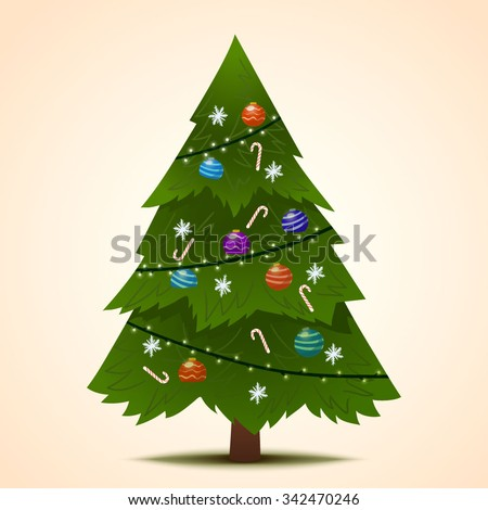 Green decorated Christmas fir-tree for the New Year for your congratulations. Vector Illustration. - stock vector