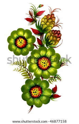 green decorative flowers - stock vector