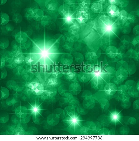 green Defocused Light, Flickering Lights, Vector abstract festive background with bokeh defocused lights. star. - stock vector