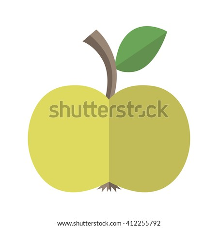 Green delicious ripe apple with leaf isolated on white. Flat style. Healthy natural food, diet, fruit, vitamin, juice and season concept. EPS 8 vector illustration, no transparency - stock vector