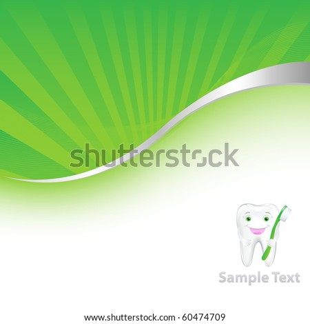 Green Dental Background With Tooth, Vector Illustration - stock vector