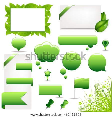 Green Design Elements And Icons, Isolated On White Background, Vector Illustration - stock vector