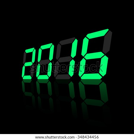 Green digital numbers 2016 year time on a black background.