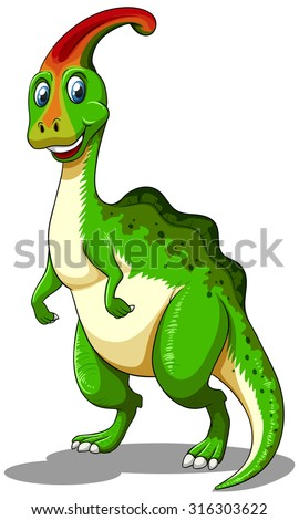 Green dinosaur looking happy illustration - stock vector