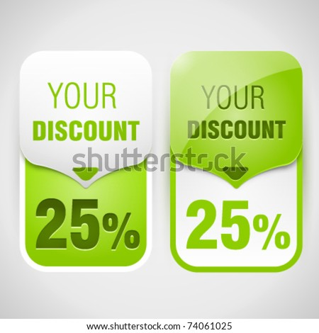Green discount cards. Vector Illustration - stock vector