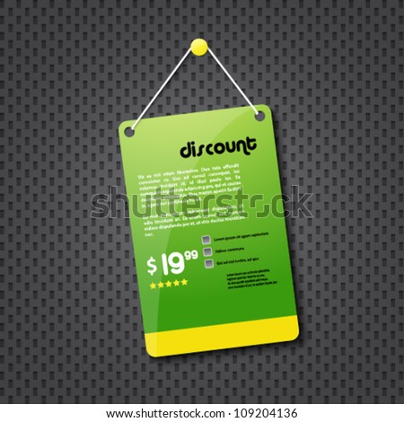 green discount hanging sign - stock vector