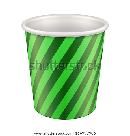 Green Disposable Paper Cup. Container For Coffee, Java, Tea, Cappuccino, Dessert, Yogurt, Ice Cream, Sour Sream Or Snack. Ready For Your Design. Product Packing Vector EPS10  - stock vector