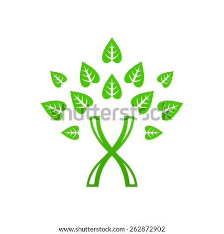 Green DNA tree: chromosome and leaves. Vector.