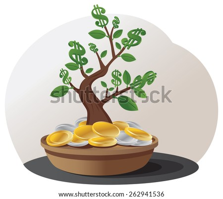 Green dollar sign tree grows in the pile of gold and silver coins - stock vector