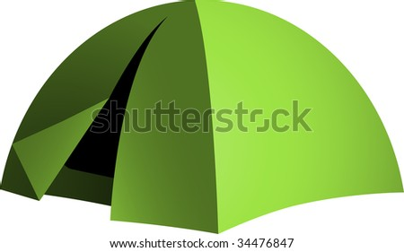 Green dome tent - stock vector