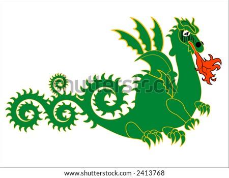 green dragon - stock vector