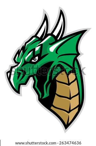green dragon head mascot - stock vector