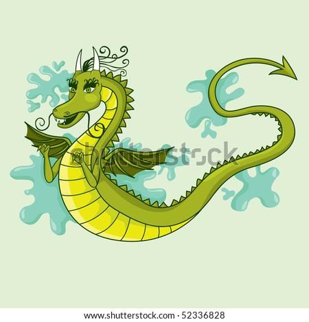 Green Dragon illustration - stock vector
