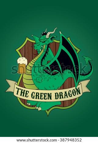 Green Dragon.Imaginary tavern sign.isolated vector illustration - stock vector