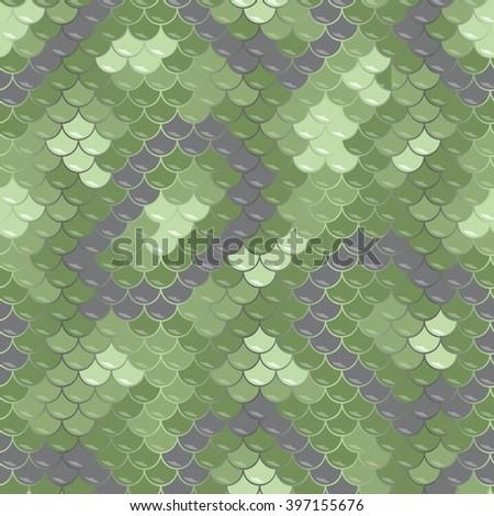 Green dragon skin. Seamless squama texture pattern - stock vector