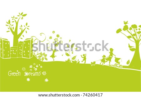 green dreams, a happy green landscape - stock vector