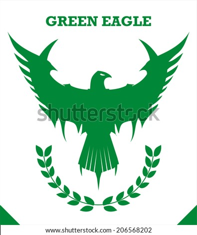 Green eagle, green force, peace. United Nations. Green Phoenix - stock vector
