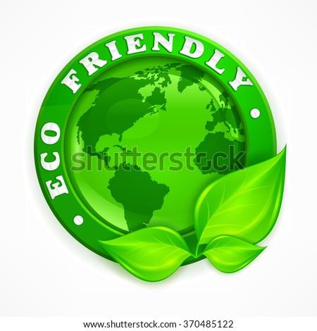 Green earth concept. Eco friendly round vector illustration - stock vector
