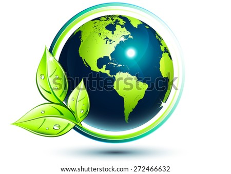 green earth - eco-friendly concept - Usa - Elements are furnished by NASA - stock vector