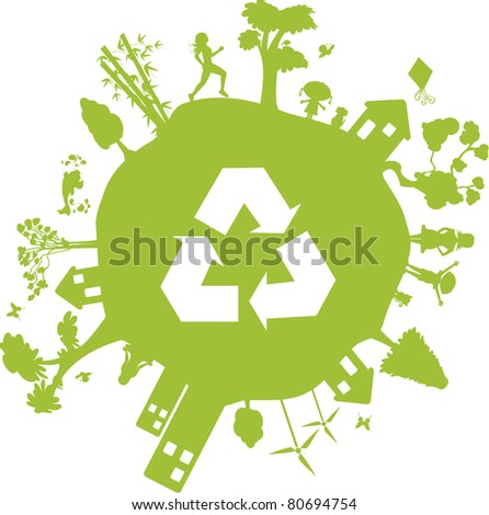 Green Earth. Globe containing various elements such as houses, buildings, people and even the recycle symbol. - stock vector