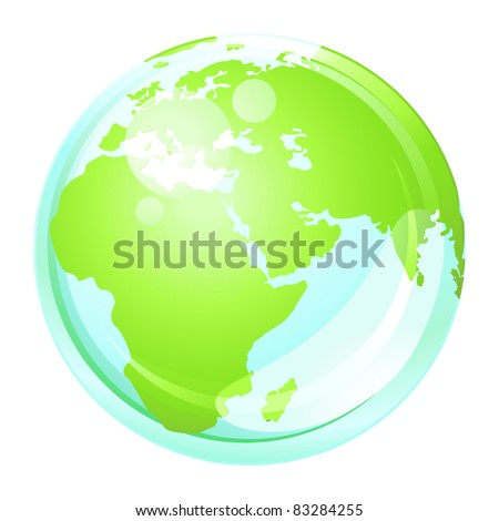 Green earth globe . Vector button .
