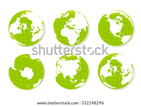 Green Earth Globes Isolated on White - stock vector