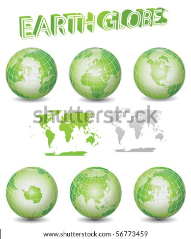 Green Earth Globes Vector Illustration Clip Art - stock vector