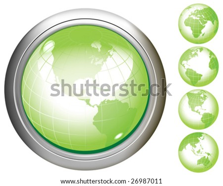 Green Earth glossy buttons. Base map generated using map data from the public domain. (www.diva-gis.org) All elements and textures are individual objects. Vector illustration scale to any size.