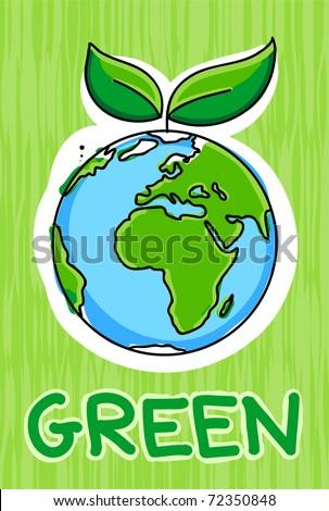 green earth icon - stock vector