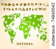 Green Earth illustration with ecology icons - stock photo