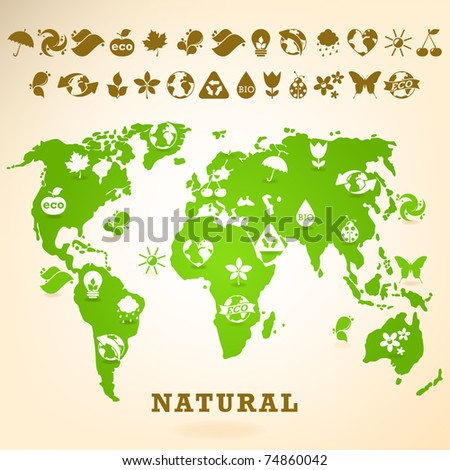 Green Earth illustration with ecology icons - stock vector